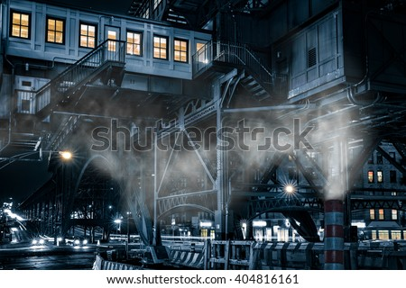 125th street commuter hub station, in Harlem, New York City rendered with a moody monochrome cinematic effect. - stock photo