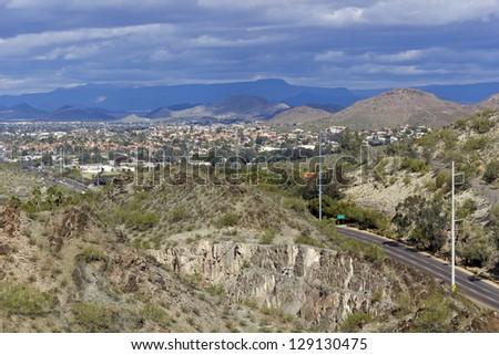 7th Street running thru Tapatio Cliffs to Northern Phoenix & Scottsdale,  Arizona - stock photo