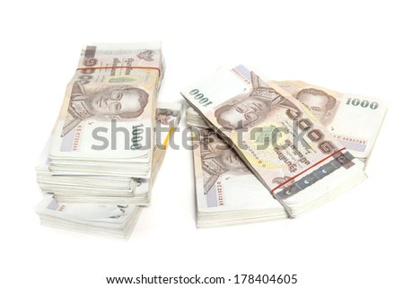 Thailand money banknotes stacked  isolated  - stock photo
