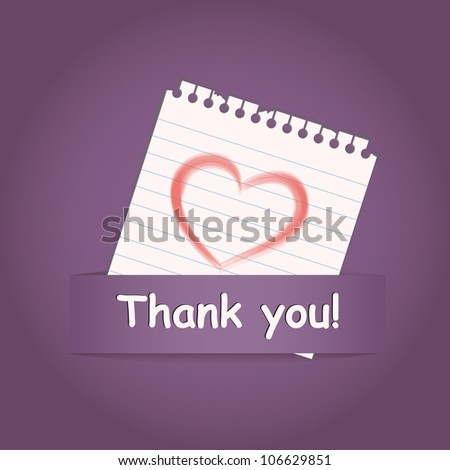 """""""Thank you"""" a greeting card with heart on paper note, raster - stock photo"""