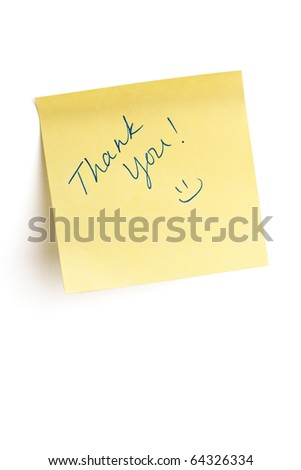 """Thank you"" and a smiley face written on yellow post it note isolated on white background with clipping path. - stock photo"