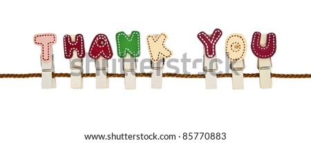 """Thank You"" English alphabet wooden clip on the rope"