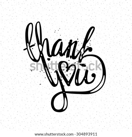 'thank you' hand lettering - handmade calligraphy illustration  - stock photo