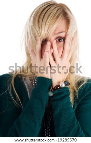 the afraid woman on the white - stock photo