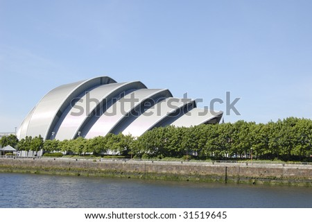 """The Armadillo"" concert hall on the bank of the River Clyde in Glasgow, Scotland"
