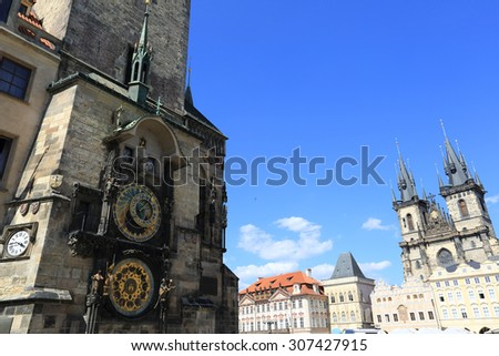 The Astronomical clock, Prague old town square - stock photo
