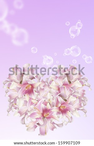 The beautiful abstract flowers Heart of the petals pink lily.