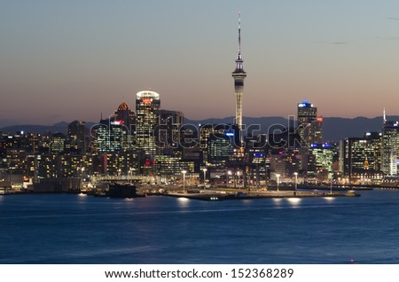 The beautiful Auckland city at night with skyscraper - stock photo