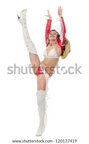 The beautiful dancer has lifted a leg upwards - stock photo