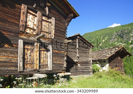 The beautiful  landscape with chalet near Zermatt. Switzerland                             - stock photo