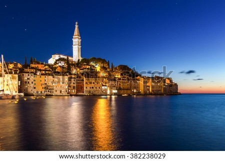 The beautiful town of Rovinj at the sunset