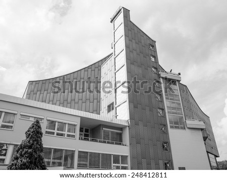 The Berliner Philarmonie concert hall in Berlin Germany in black and white