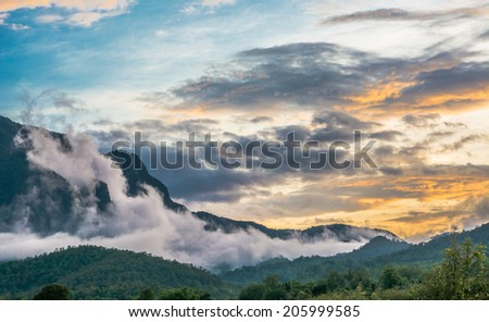 the big mountain  and blue sky with sunset at doi luang chiang dao ,Chiang Mai Thailand  - stock photo
