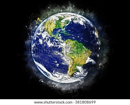 """The Blue Marble"" Planet Earth Painting Artwork Effect (Elements of this image furnished by NASA)"