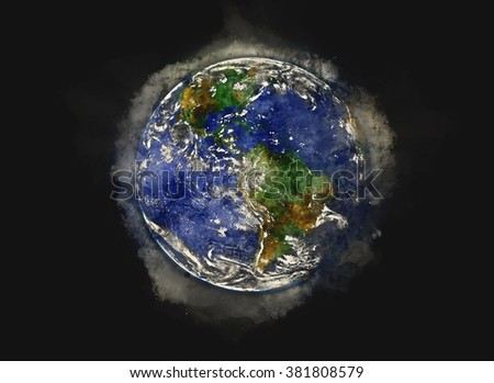 """""""The Blue Marble"""" Planet Earth - Water Paint Artwork (Elements of this image furnished by NASA) - stock photo"""