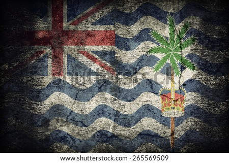 the British Indian Ocean Territory (United Kingdom) flag pattern on dirty old concrete wall texture ,retro vintage style - stock photo