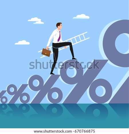 The businessman standing on a sign on percent and searching for growth of business