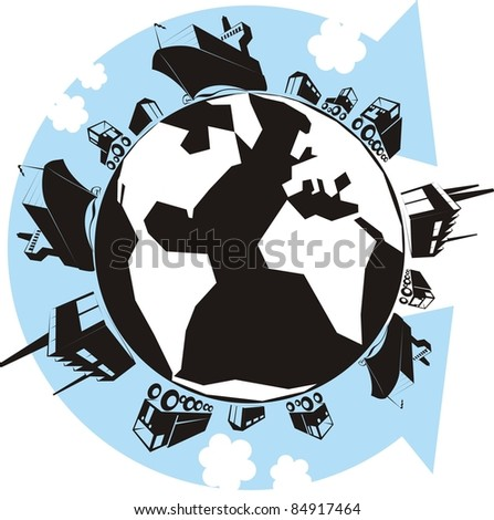"""The Cargo Planet"" color raster illustration - Earth with factories, warehouses, trucks, container ships, vans, cars and an arrow showing the supply chain - stock photo"