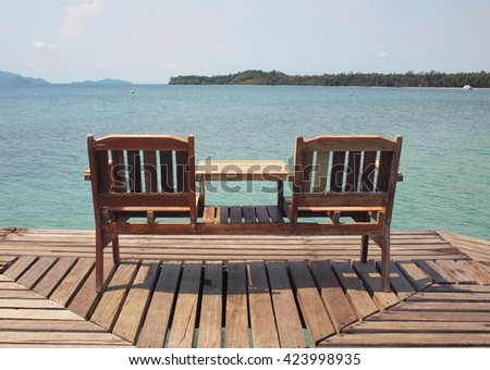 The chairs on the wooden bridge in tropical Sea, Mak island, Trat ,Thailand