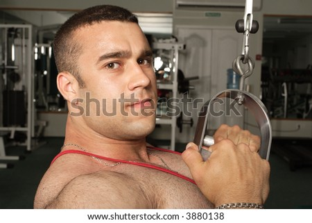 """""""The champion in a fitness center"""" - stock photo"""