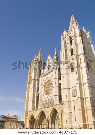 The city of Leon is the capital of Leon province in Spain, started as an independent Kingdom in 910 DC,is famous for its Gothic Cathedral and many other monumental buildings.View of cathedral.
