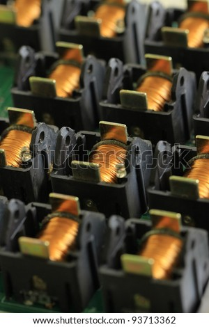 The coil of a copper wire for electronic - stock photo