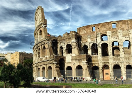 The Colosseum at a stormy day, hdr picture - stock photo