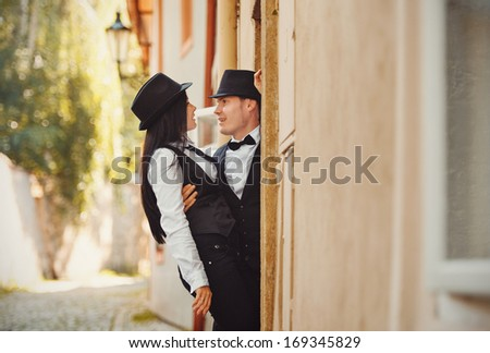 The couple in a street - stock photo