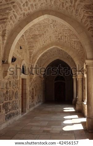 The courtyard of the Church of Nativity, Bethlehem - stock photo