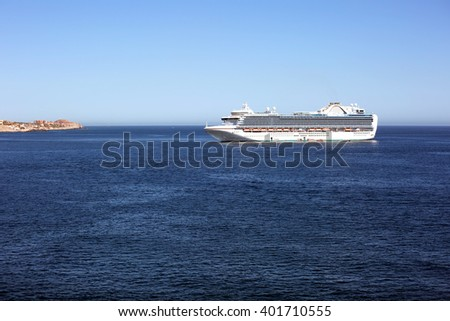 The cruise ship is moored port Huatulco (Mexico).