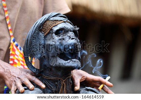 The Dani people of Baliem Valley, (Western New guinea) are the only tribe on New Guinea island known to have made mummies from their dead. This one is approximately 300 years old. - stock photo