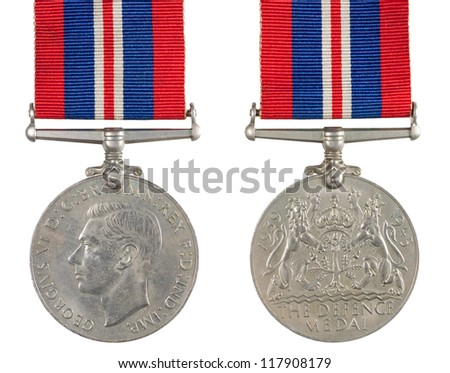 1939-1945 The Defence Medal inscription GEORGIVS VI D G BR OMN REX F D IND IMP - stock photo