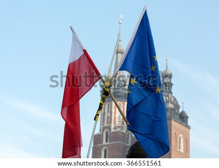 the Demonstration against the surveillance on Internet organized through The Committee for the Defence of Democracy / KOD /. Cracow, Poland - stock photo