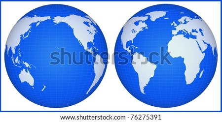 The earth globe isolated on a white background. Continents and meridians are represented conditionally and are not exact geographical. - stock photo