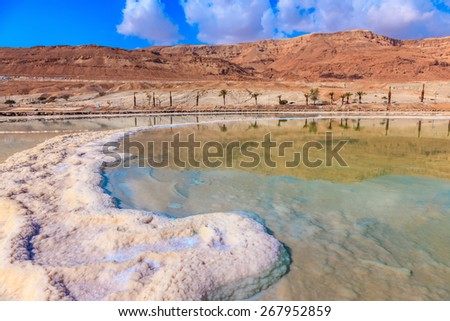 The evaporated salt acts over a water surface beautiful patterns. Decrease in water level in the Dead Sea - stock photo