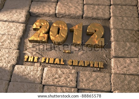 2012: the final chapter written on an Old Wall. 3D render. - stock photo