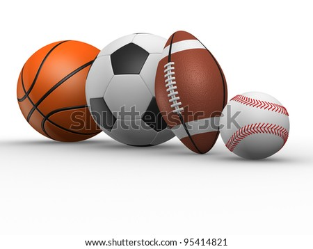 The football, rugby, baseball and basketball. 3d render various sports balls.