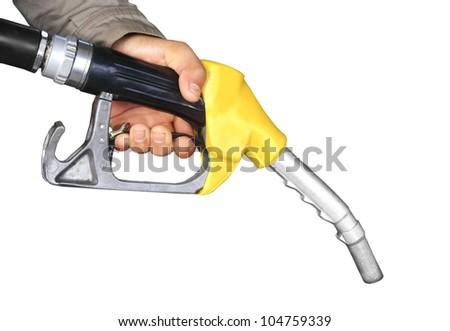 The fuel supply, yellow pump needle - stock photo