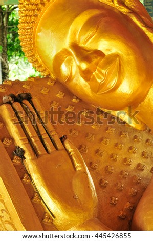 The giant Reclining Buddha in Sihanouk Ville , Cambodia