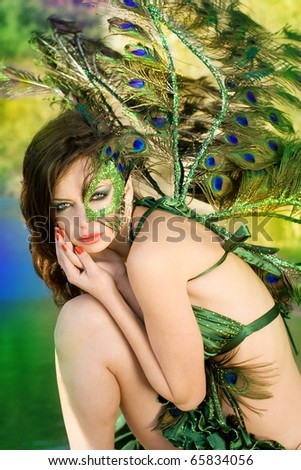 The girl - peacock - stock photo