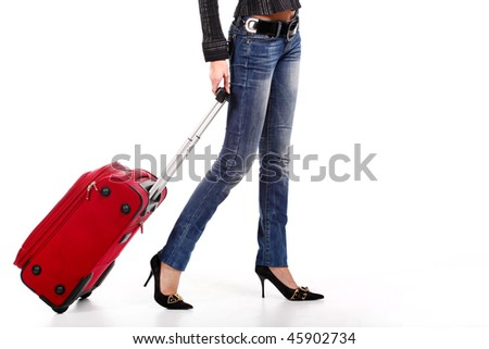 The girl with a suitcase on the white background