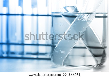 the glassware,  test tubes in laboratory room.