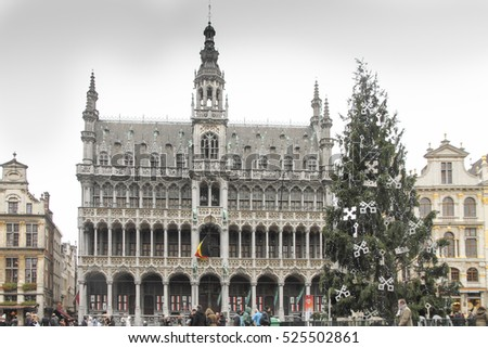 The grand place or Grote markt is world heritage site Brussels Belgium Benelux on December 2014 Christmas time.