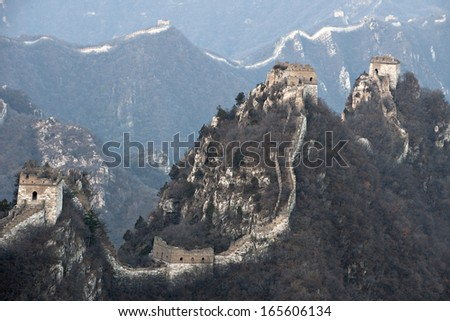 the great  wall of China at Peking, jiankou.