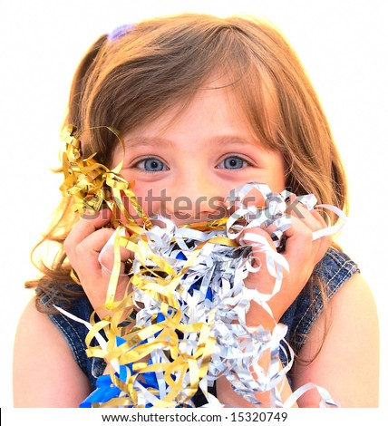 The happy face child. The little girl laughs , her hands kept packing tape for gifts. Hands pressed hard to face. Isolated on white.