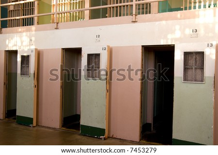 """The Hole"" - solitary confinement cells were used to punish prisoners who disobeyed the rules at Alcatraz, some of whom were confined in the windowless cells for up to 2 years - stock photo"