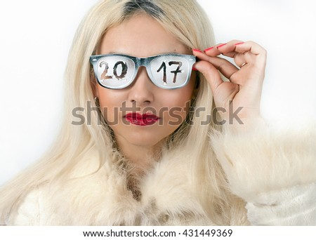 2017 the inscription on the glasses bright blonde - stock photo