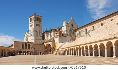 The Italian city Assisi, the Basilica of San Francesco and Other Franciscan Sites
