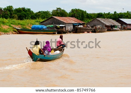 The journey of people in tonle sap lake, Cambodia - stock photo