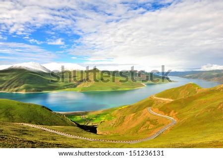 The Lake Yamdrok(Yamtso)  - stock photo